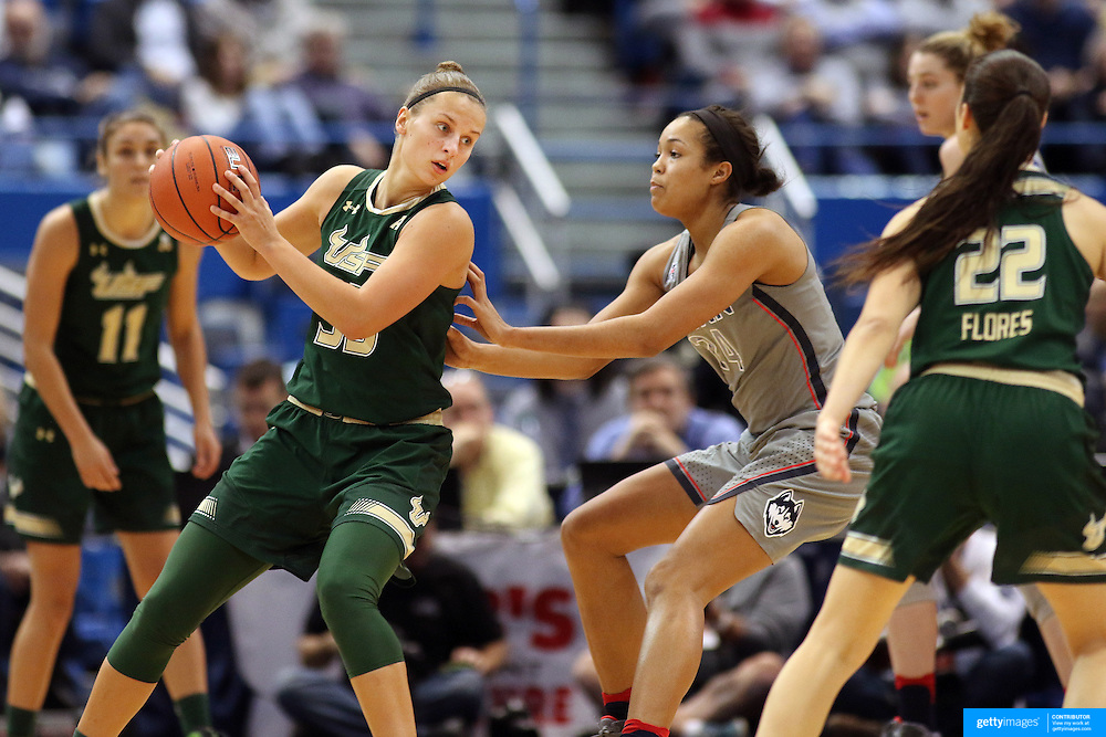 HARTFORD, CONNECTICUT- JANUARY 10: Kitija Laksa #33 of the South Florida Bulls is defended by Napheesa Collier #24 of the Connecticut Huskies during the the UConn Huskies Vs USF Bulls, NCAA Women's Basketball game on January 10th, 2017 at the XL Center, Hartford, Connecticut. (Photo by Tim Clayton/Corbis via Getty Images)