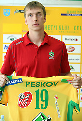 Alexey Peskov at press conference of handball club RK Celje Pivovarna Lasko before new season 2008/2009, on September 2, 2008 in Celje, Slovenia. (Photo by Vid Ponikvar / Sportal Images)