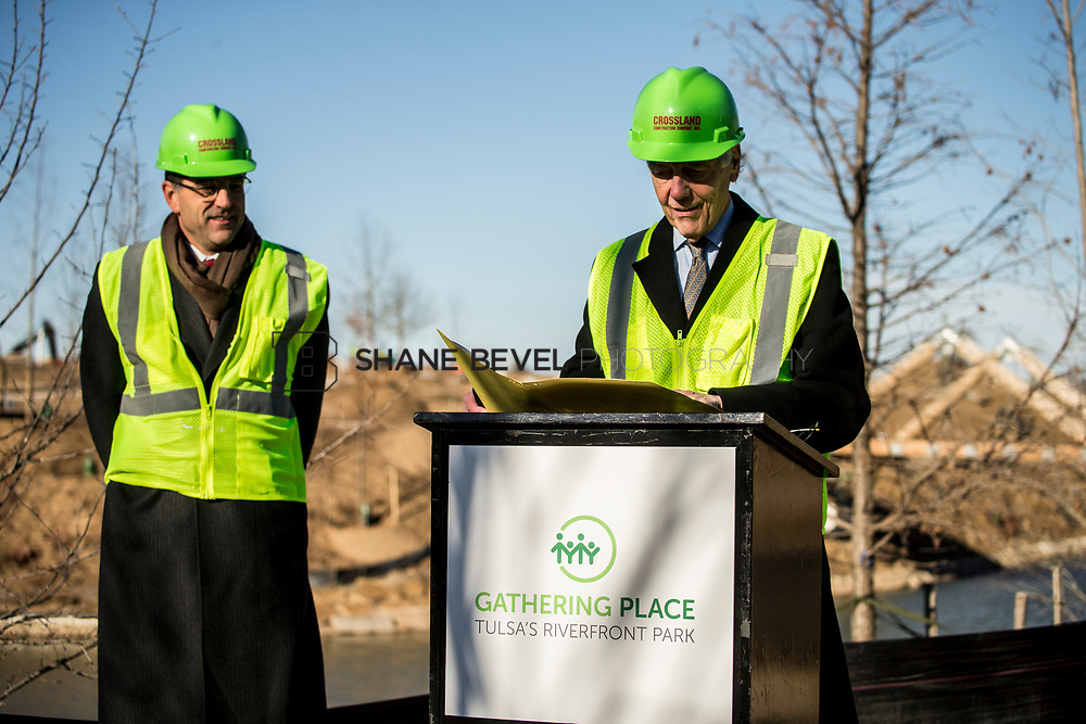 1/12/18 11:06:12 AM -- Halliburton CEO Jeff Miller and George Kaiser visit the Gathering Place for a press conference announcing Halliburton's support for the park. <br /> <br /> Photo by Shane Bevel