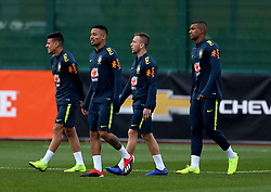 Brazil's Gabriel Jesus (second left) during the training session at London Colney, Hertfordshire.