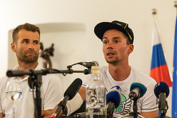 Coach of Slovenian national cycling team Andrej Hauptman (left) and Primoz Roglic (right) during press conference of slovenian rider Primoz Roglic after Tour de France 2018 on August 6, 2018 in Ljubljana, Slovenia. Photo by Urban Meglic / Sportida