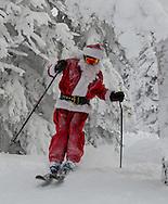 Santa Claus skies fresh powder, Steamboat Springs, Colorado.
