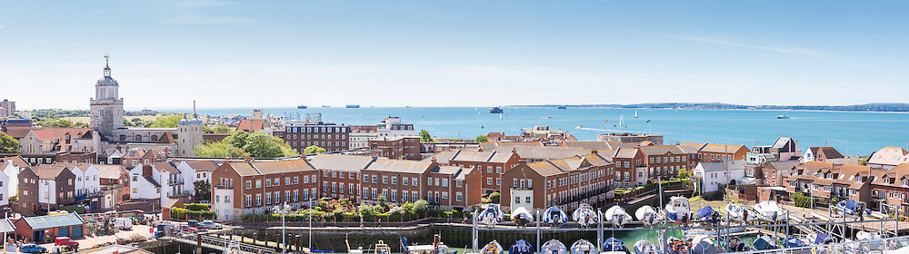 A panoramic view of the Solent seen from the top floor at the newly opened Land Rover BAR (Ben Ainslie Racing) HQ in Portsmouth, Hampshire. The world's most successful Olympic sailor and his team will compete to win the oldest sporting trophy, The America's Cup, in Bermuda in 2017. The first stage of the contest will be held close to the base in Portsmouth next month when competing nations converge on the city for the inaugural America's Cup World Series regatta. <br /> Picture date Wednesday 24th June, 2015.<br /> Picture by Christopher Ison. Contact +447544 044177 chris@christopherison.com