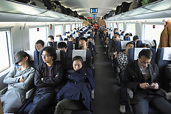 Interior of busy economy carriage on new Beijing to Shanghai high-speed railway in China