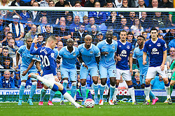 Everton's Ross Barkley takes a free kick  - Mandatory byline: Matt McNulty/JMP - 07966386802 - 23/08/2015 - FOOTBALL - Goodison Park -Everton,England - Everton v Manchester City - Barclays Premier League