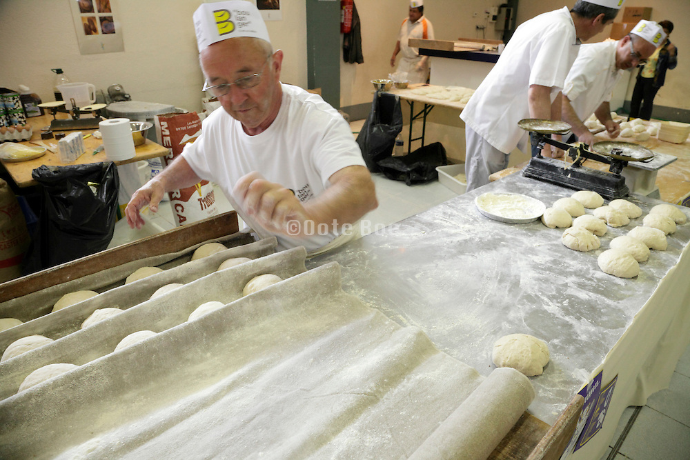 old style hand rolled bread dough preparing for baking