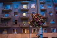 Roma, 12/10/2014: lapide su via Prenestina in memoria <br /> di un incidente mortale - grave along the street in memory <br /> of a fatal car accident.