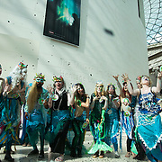 Bp-or-not-BP stage a splash mob art intervention at the British Museum in protest against the continued BP sponsorship of the exhibition 'Sunken Cities' 25th of September 2016.  A flock of merfolk and BP pirates roamed the museum as well as a kraken, a giant sea monster. The merfolk all advocate more oil exploration and more climate change to raise the sea levels and make their life better.