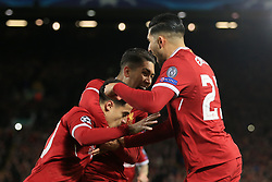 6th December 2017 - UEFA Champions League - Group E - Liverpool v Spartak Moscow - Philippe Coutinho of Liverpool (L) celebrates with teammates Roberto Firmino (C) and Emre Can after scoring their 1st goal - Photo: Simon Stacpoole / Offside.