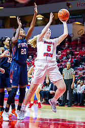 NORMAL, IL - November 30: Lexy Koudelka gets by Chelsey Perry for a lay up during a college women's basketball game between the ISU Redbirds and the Skyhawks of UT-Martin November 30 2019 at Redbird Arena in Normal, IL. (Photo by Alan Look)