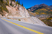 Steep grade on the Million Dollar Highway near Silverton, San Juan National Forest, Colorado USA