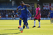 AFC Wimbledon striker Tom Elliott (9) controlling the ball and starting an attack during the EFL Sky Bet League 1 match between AFC Wimbledon and Southend United at the Cherry Red Records Stadium, Kingston, England on 25 March 2017. Photo by Matthew Redman.