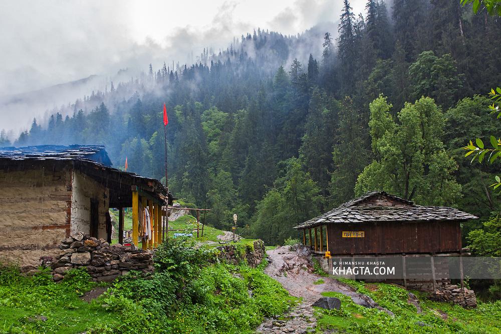 Rudra Nag temple on the way to Kheerganga near Nakthan in Parvati valley in Kullu, Himachal Pradesh, India