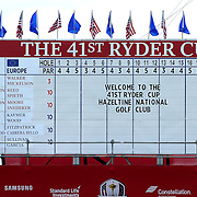 Ryder Cup 2016.  The scoreboard during practice day at the Hazeltine National Golf Club on September 28, 2016 in Chaska, Minnesota.  (Photo by Tim Clayton/Corbis via Getty Images)