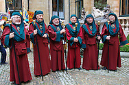 Participants prepare behind the scenes at the UNESCO designated Ommegang Medieval festival in Brussels, Grand Place, in Belgium.