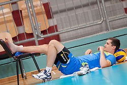 Injured, Gregor Ropret #16 of Slovenia during volleyball match between National Teams of Slovenia and FRY Macedonia of 2014 CEV Volleyball European League Man - Pool B, on July 5, 2014, in Arena Ljudski vrt Lukna, Maribor, Slovenia, Slovenia. Photo by Urban Urbanc / Sportida