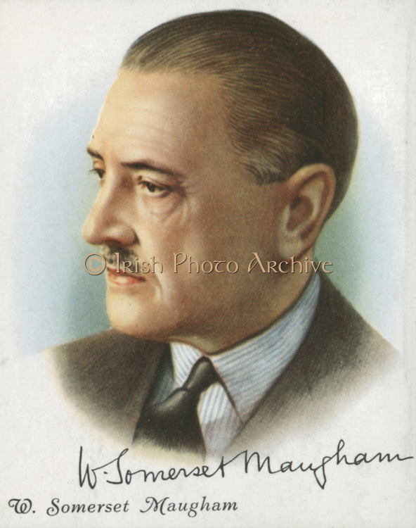 William Somerset Maugham (1874-1965) English author of novels, plays and short stories. He qualified as a physician at St Thomas's Hospital, London, in 1897, and spent the next 10 years in Paris as a struggling author. In 1915 his semi-autobiographical novel 'Of Human Bondage' appeared, and in 1919 'The Moon and Sixpence', based on the life of Gaugin. A number of his works were filmed.  Card published London 1927.