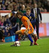 9th November 2017, Pittodrie Stadium, Aberdeen, Scotland; International Football Friendly, Scotland versus Netherlands; Holland's Nathan Ake and Scotland's Ryan Fraser