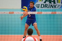 17-05-2013 VOLLEYBAL: BELGIE - NEDERLAND: KORTRIJK<br /> Nederland wint de eerste oefenwedstrijd met 3-0 van Belgie / Jelte Maan - AA drink<br /> ©2013-FotoHoogendoorn.nl