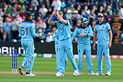 Wicket - Ben Stokes of England celebrates taking the wicket of Shakib Al Hasan (vc) of Bangladesh during the ICC Cricket World Cup 2019 match between England and Bangladesh the Cardiff Wales Stadium at Sophia Gardens, Cardiff, Wales on 8 June 2019.