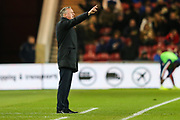 Stoke City manager Michael O'Neill gestures during the EFL Sky Bet Championship match between Middlesbrough and Stoke City at the Riverside Stadium, Middlesbrough, England on 20 December 2019.