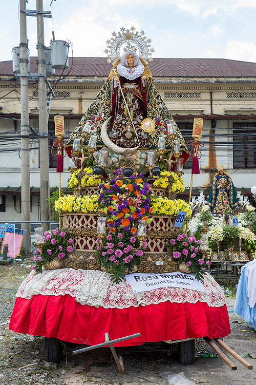 A vibrant and colourful float made for the Grand Marian Parade in Intramuros, Metro Manila, Philippines. The Intramuros Grand Marian Procession is an annual procession on the first Sunday of December that honours the Feast of the Immaculate Conception. (photo by Andrew Aitchison/In Pictures via Getty Images)