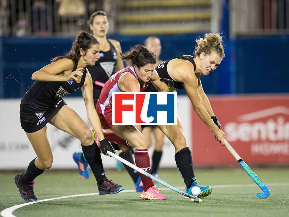 AUCKLAND - Sentinel Hockey World League final women<br /> Match id: 10300<br /> 10 New Zealand v USA<br /> Foto: Michelle Vittese blocked and get a stroke.<br /> WORLDSPORTPICS COPYRIGHT FRANK UIJLENBROEK