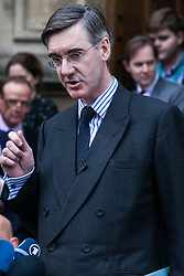 London, UK. 15th November, 2018. Jacob Rees-Mogg, Conservative MP for North-East Somerset, appears outside the House of Commons to announce the sending of a letter of no confidence in Prime Minister Theresa May following the Cabinet resignations of Brexit Secretary Dominic Raab and Work and Pensions Secretary Esther McVey and the day after the Prime Minister gained Cabinet approval of a draft Brexit agreement .