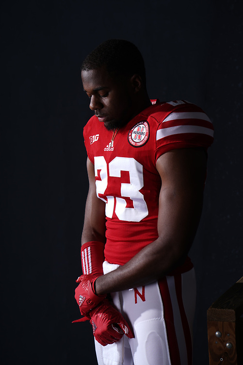 DICAPRIO BOOTLE #23 during a portrait session at Memorial Stadium in Lincoln, Neb. on June 7, 2017. Photo by Paul Bellinger, Hail Varsity