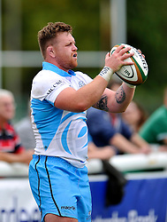 Kevin Bryce (Glasgow Warriors) looks to throw into a lineout - Photo mandatory by-line: Patrick Khachfe/JMP - Mobile: 07966 386802 30/08/2014 - SPORT - RUGBY UNION - London - Richmond Athletic Ground - London Scottish v Glasgow Warriors - Pre-Season Friendly