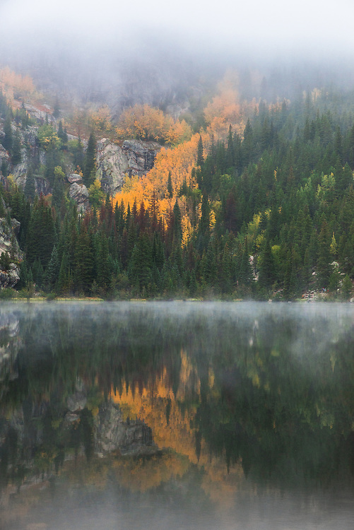 This is Bear Lake in Rocky Mountain National Park. I took this one cool morning during the autumn.