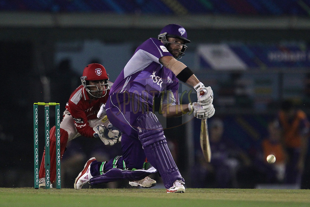 Travis BIRT of the Hobart Hurricanes launches a six during match 2 of the Oppo Champions League Twenty20 between the Kings XI Punjab and the Hobart Hurricanes held at the Punjab Cricket Association Stadium, Mohali, India on the 18th September 2014<br /> <br /> Photo by:  Ron Gaunt / Sportzpics/ CLT20<br /> <br /> <br /> Image use is subject to the terms and conditions as laid out by the BCCI/ CLT20.  The terms and conditions can be downloaded here:<br /> <br /> http://sportzpics.photoshelter.com/gallery/CLT20-Image-Terms-and-Conditions-2014/G0000IfNJn535VPU/C0000QhhKadWcjYs