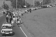 Police escort miners pickets along Sheffield Parkway to Orgreave. 18/06/1984.