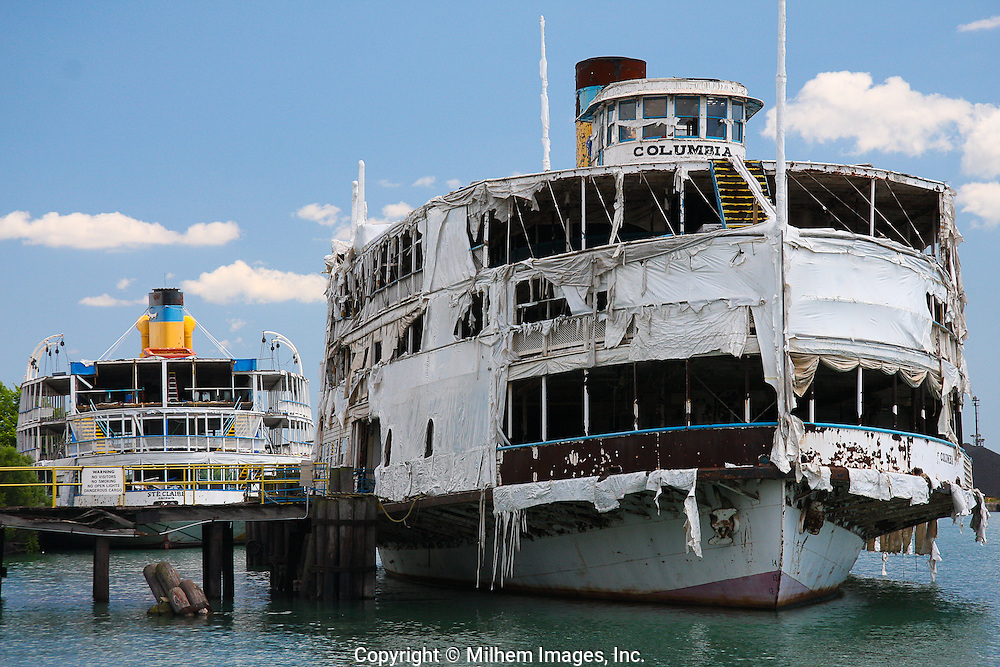 Built in 1902,the Columbia steamship is one of two remaining propeller-driven excursion steamers left in the country. It was designed to transport passengers to and from the Bob-lo island f. Today,  sits in ruins at the dock of the Great Lakes Steel Company in Ecorse, Michigan