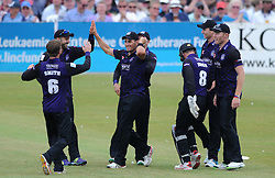 Benny Howell of Gloucestershire celebrates with team mates after catching out Sam Billings of Kent - Photo mandatory by-line: Dougie Allward/JMP - Mobile: 07966 386802 - 12/07/2015 - SPORT - Cricket - Cheltenham - Cheltenham College - Natwest Blast T20