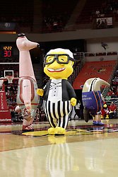 05 December 2015: Zooperstar Yao Flamingo, Harry Canary and Kevin Duranteater. Illinois State Redbirds host the University of Alabama - Birmingham Blazers at Redbird Arena in Normal Illinois (Photo by Alan Look)