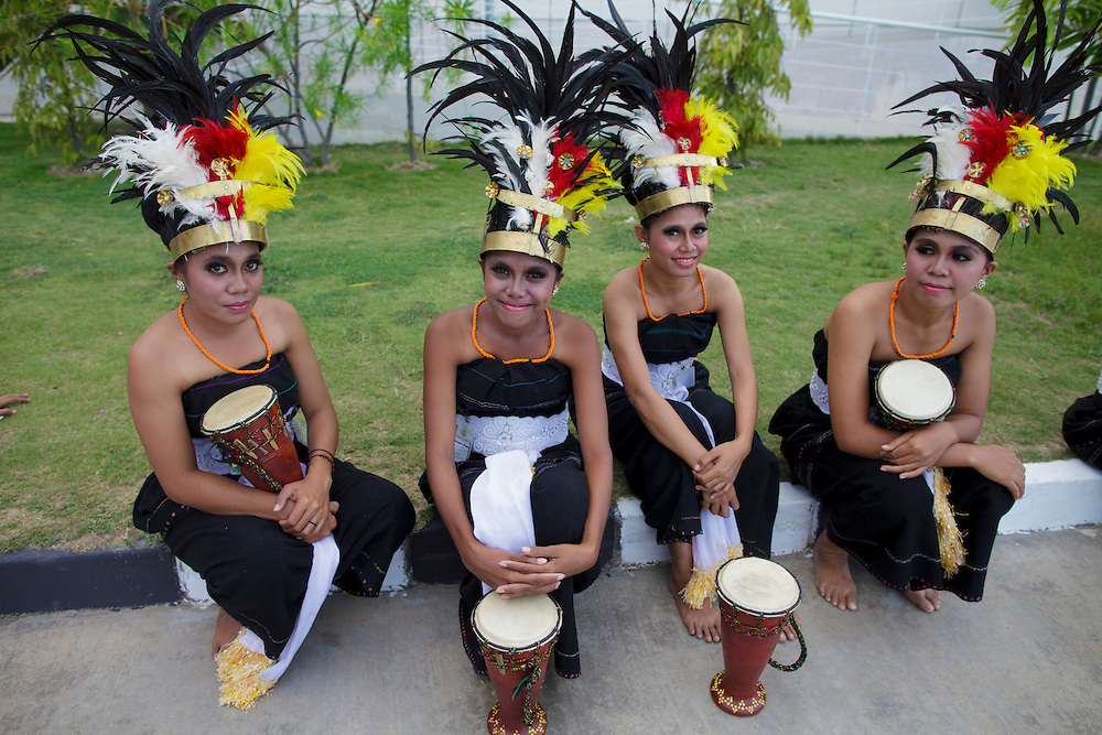 Group of girls from a traditional music band in Dili, East Timor.