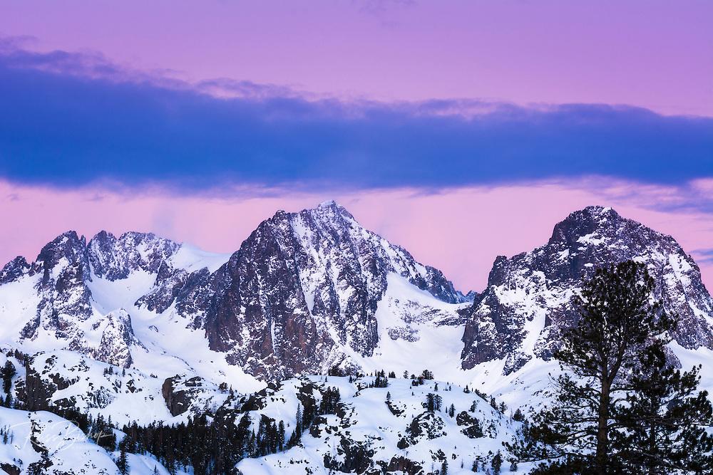 Dawn light on Mount Ritter and Banner Peak, Ansel Adams Wilderness, Sierra Nevada Mountains, California USA