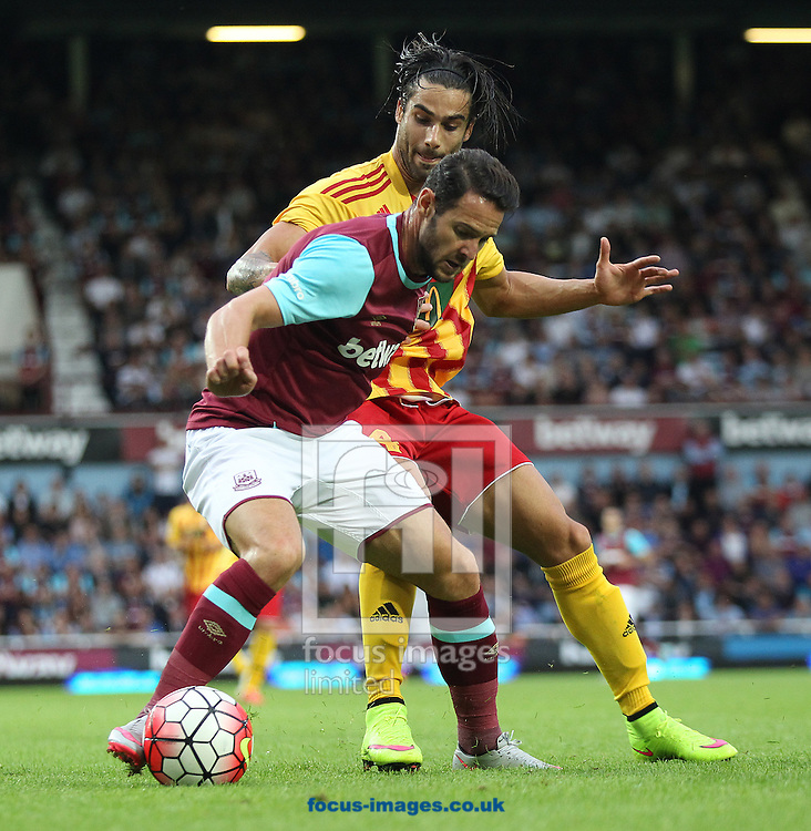 Rowen Muscat of Birkirkara FC and Matt Jarvis of West Ham in action during the UEFA Europa League match at The Boleyn Ground, London<br /> Picture by Paul Chesterton/Focus Images Ltd +44 7904 640267<br /> 16/07/2015