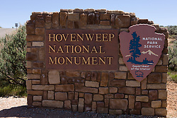 Welcome sign at the entrance to Hovenweep National Monument, Colorado and Utah. Hovenweep National Monument protects six prehistoric, Puebloan-era villages spread over a twenty-mile expanse of mesa tops and canyons along the Utah-Colorado border. Multi-storied towers perched on canyon rims and balanced on boulders lead visitors to marvel at the skill and motivation of their builders..