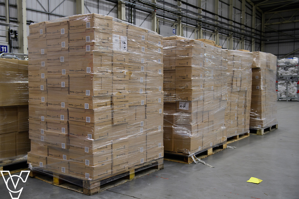 Stock / generic photographs taken at the Royal Mail's Yorkshire Distribution Centre, Normanton. <br /> <br /> Parcels piled up on a pallet and wrapped in cellophane  <br /> <br /> Picture: Chris Vaughan Photography<br /> Date: November 15, 2016