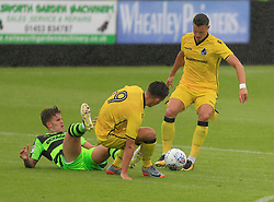 Ollie Clarke of Bristol Rovers brings the ball away with Jack Fitzwalker of Forest Green Rovers grounded - Mandatory by-line: Paul Roberts/JMP - 22/07/2017 - FOOTBALL - New Lawn Stadium - Nailsworth, England - Forest Green Rovers v Bristol Rovers - Pre-season friendly
