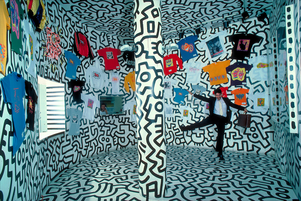 Pop Shop, store that sold memorabilia of artist Keith Haring's designs.  292 Lafayette Street in SoHo, NY (closed in 2005)
