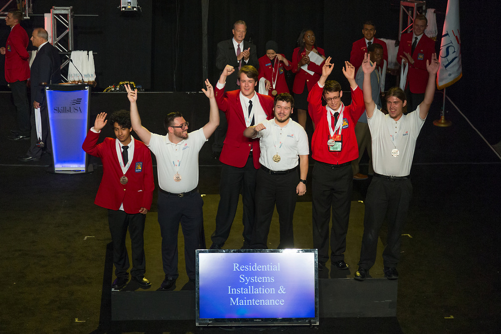 The 2017 SkillsUSA National Leadership and Skills Conference Competition Medalists were announced Friday, June 23, 2017 at Freedom Hall in Louisville. <br /> <br /> Residential Systems Installation and Maintenance<br /> <br /> 	Brandon Lambert<br />   High School	 Mid-America Technology Center<br />   Gold	 Wayne, OK<br /> Residential Systems Installation and Maintenance	Tyler Qualls<br />   High School	 Ada Professional-Technical Center<br />   Silver	 Meridian, ID<br /> Residential Systems Installation and Maintenance	Axel Rincon<br />   High School	 Southside Technical Center<br />   Bronze	 Lexington, KY<br /> Residential Systems Installation and Maintenance	Marcus Crespin<br />   College	 Texas State Tech College-Waco<br />   Gold	 Waco, TX<br /> Residential Systems Installation and Maintenance	Johnny Hothouse<br />   College	 Indian Capital Technology Center-Talequah<br />   Silver	 Tahlequah, OK<br /> Residential Systems Installation and Maintenance	Zachary Pahler<br />   College	 Orange Technical College - Mid-Florida Campus<br />   Bronze	 Orlando, FL