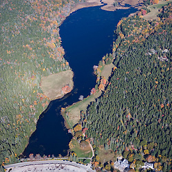 Little Long Pond from the air.  Maine's Acadia National Park.  Fall.