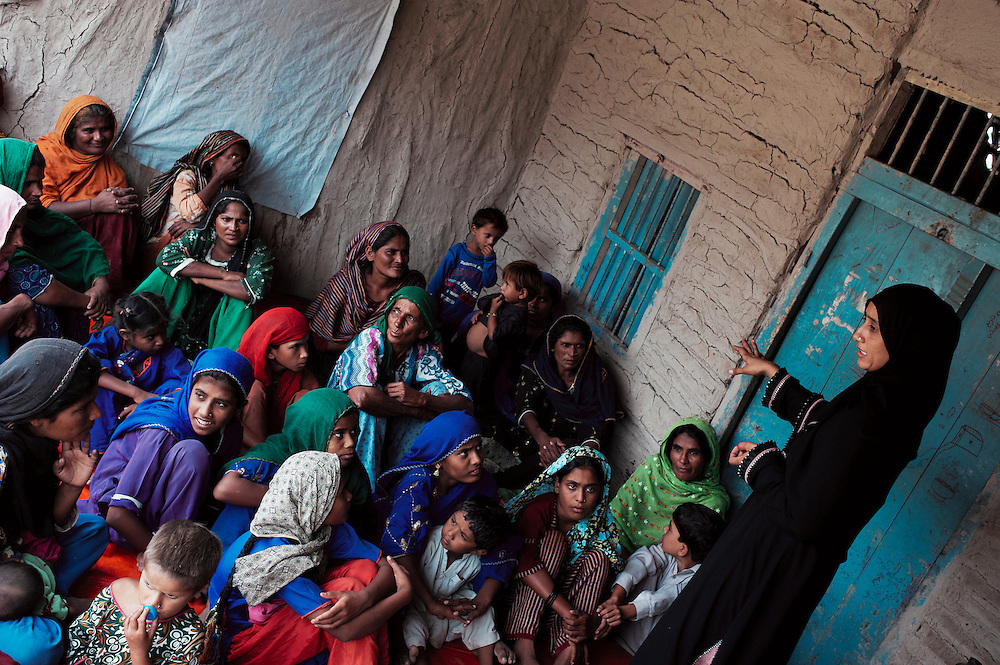 A helath promotion class in the village of Sheer Ali Shah, Thatta, Sindh, Pakistan on July 1, 2011.