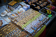 An ambulant seller sellling catalan pins and gadgets during the rally.