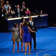 The First Family on stage after President Barak Obama speaks at the 2012 Democratic National Convention