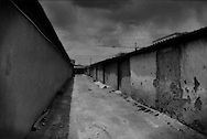 Bleak alleyway in Madoi, where Tibetan nomads have been forcibly resettled for the past decade by the government.  <br /> <br /> 55,773 residents from 10,733 households have been forcibly relocated to close off 3.78 million hectares (9.3 million acres) of grassland to grazing to arrest further environmental degradation from human activity.  The Financial Times Newspaper says that 600,000 nomadic herders have been moved into government-built housing throughout Tibet.  Many of these families, separated from the only way they have ever known to earn a living, have fallen into poverty.  Madoi, Amdo, Tibet.  (Maduo, Qinghai, China)