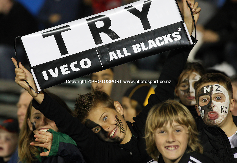 Young All Blacks fans show their support.<br />Iveco Test Match Series. All Blacks vs England, 1st test match, Eden Park, Auckland, New Zealand. Photo: Andrew Cornaga/PHOTOSPORT